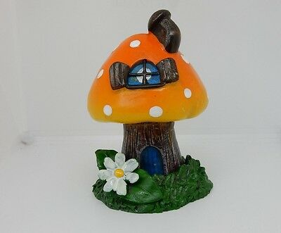 Orange Smoking Toadstool House Incense Burner Cottage Incense Cone Burner