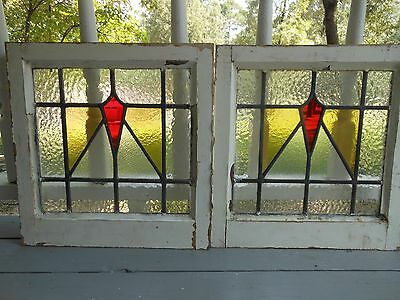 DUR-258 Older Art Deco Style Leaded Stained Glass Window F/England 2 Available