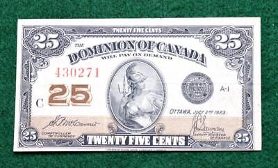 1923 Xf Or Better Dominion Of Canada 25 Cent Fractional Currency -  Free S&h