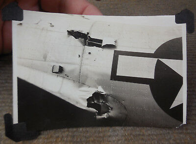 Vintage WW II USAAF 8th Air Force B-17 Flak Damage B/W Photograph