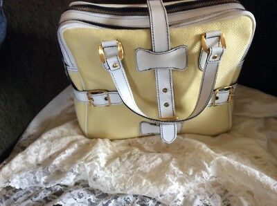 True Vintage 60's Mod Yellow/white Handbag Tote Bag Purse Carina Made In Italy