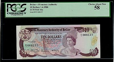 Belize  10 Dollars  1980   P/3 Pick # 40 Pcgs 8 Au.