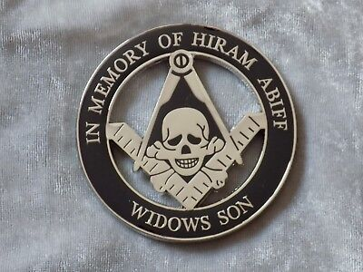 "Masonic 3"" Car Emblem Widows Sons Hiram Abiff Skull Crossbones Freemasonry NEW!"