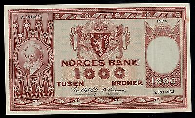 NORWAY  1000  KRONER  1974     PICK #  35e  AU.