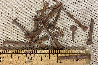"1""~REAL OLD BRAD NAILS 20 quantity vintage 1850's square antique rusty patina"
