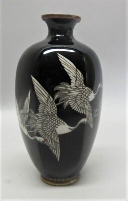 Fine Antique ANDO MEIJI-ERA CLOISONNE Vase w/ 5 Flying Geese in Exc CDN  c. 1930