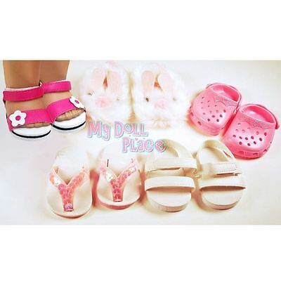 5pc Shoe Lot Pink White Sandal Summer Set fit 18 inch American Girl Doll Clothes