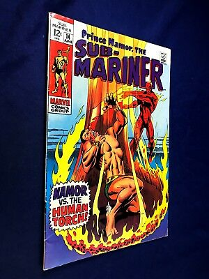 Sub-Mariner #14 (1969 Marvel) Human Torch appearance Silver Age NO RESERVE