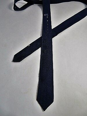Vintage 1960's Navy Blue Skinny Necktie With Tiny Dragons & Dots Acetate Rayon