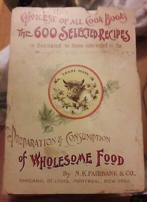Vintage The 600 Selected Recipes of Wholesome Food Cook Book Recipe Book 1892