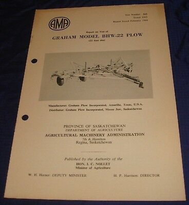 BR825 Vtg 1962 Graham Model BHW-22 Plow Consolidated Test Report