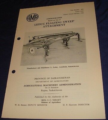 BR834 Vtg 1962 Leduc Floating Sweep Attachment Consolidated Test Report