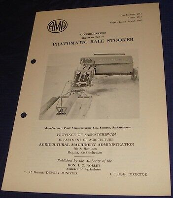 BR851 Vtg 1962 Pratomatic Bale Stooker Consolidated Test Report