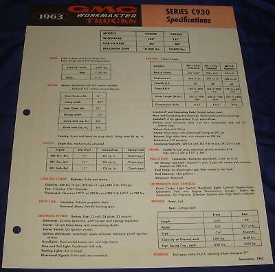 BR334 1963 63 GMC WorkMaster Truck Series C930 Specification Spec Sheet Ad