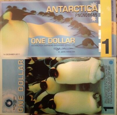 Antarctica 2011 One Dollar Commemorative Polymer Note King Penguin Usa Seller !!