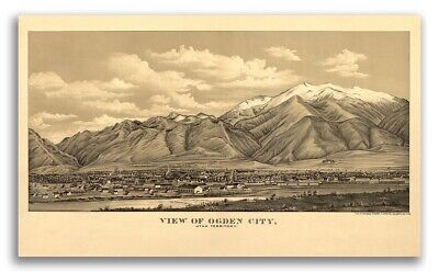 Bird's Eye View 1889 Ogden Utah Vintage Style City Map - 20x36