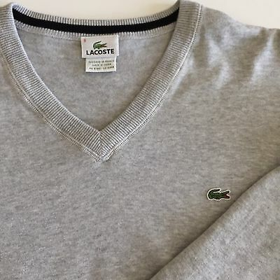 Lacoste V-Neck Pullover Sweater Soft Cotton Men's Size 9/XXL Gray