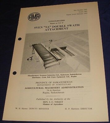 BR839 Vtg 1962 Sven SA Double Swath Attachment Consolidated Test Report