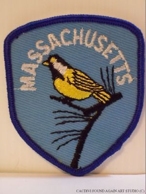Vintage Massachusetts Chickadee State Bird Patch Embroidered Souvenir Badge