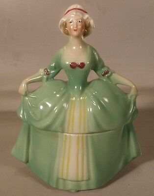 Porcelain Figural Colonial Lady Powder Box