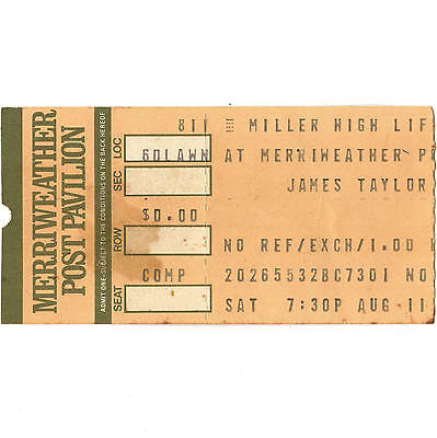 JAMES TAYLOR & RANDY NEWMAN Concert Ticket Stub COLUMBIA MD 8/11/84 MERRIWEATHER