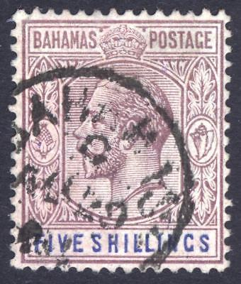 Bahamas 1912 5s Pale Dull Purple & Deep Blue SG 88a Scott 90, VFU Cat £90($121)
