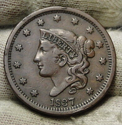 1837 Penny Coronet Large Cent 1C - Nice Coin, Free Shipping  (6196)