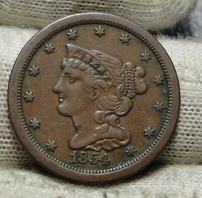 1854 Braided Hair Half Cent - Rare Only 55,358 Minted . Nice Coin (5861)