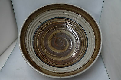 Mid Century Drip & Speckled Ribbed Serving Bowl Gray Brown Blue 12""