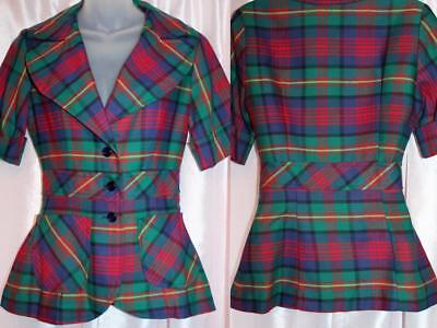 vtg 70s Plaid Fitted Jacket XS Hippie Boho Green blue red