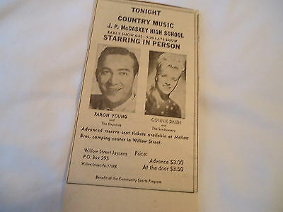 Faron Young / Connie Smith - concert LANCASTER PA  - 1969 newsprint ad