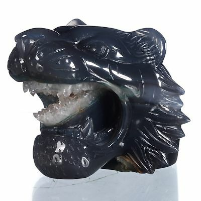 """4.06""""Natural Geode Agate Tiger Head Carving ,Collectibles#AT82"""