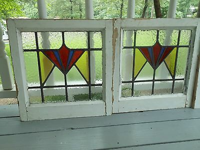 DUR-259 Older Art Deco Style Leaded Stained Glass Window F/England 2 Available