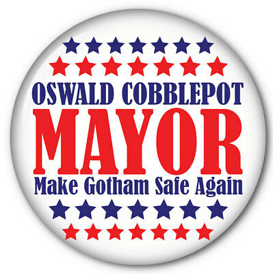 """Oswald Cobblepot For Mayor Of Gotham Halloween Costume Prop 3"""" Pin Back Button"""
