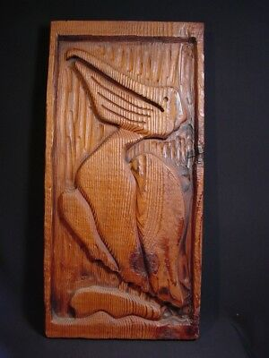 Pelican Wall Art Wood Carved Mid Century Tiki Witco Era Signed WH