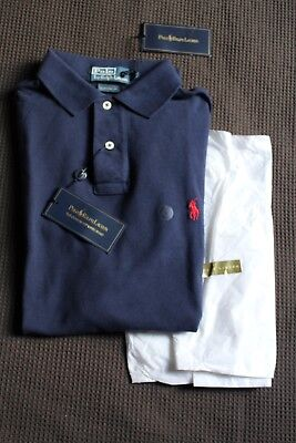 Authentic Ralph Lauren polo men's nwt short sleeve, size medium custom fit navy