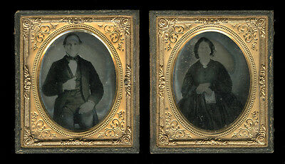 1850s Ambrotypes, Husband & Wife, Cased 6th Plates, Holding Image Case