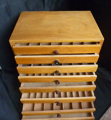 Wooden Printers Cabinet With 8 Trays Drawers Letterpress c1950's