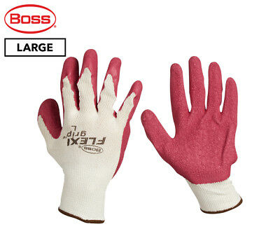 Boss Large FlexiGrip Latex Palm Knitted Work Gloves - Red/Cream