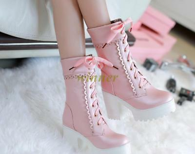 Lovely New Women's Lace Up High Platform Chunky Heel Mid Calf Gothic Punk Boots#