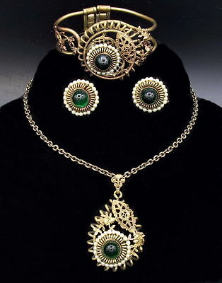 Art Deco Necklace Parure, Gilded Brass, Green High Dome Cabochon, Pearls, Set