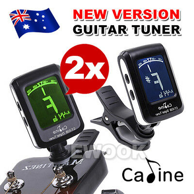 2X Clip-on Guitar Tuner For Electronic Digital Chromatic Bass Violin Ukulele LCD