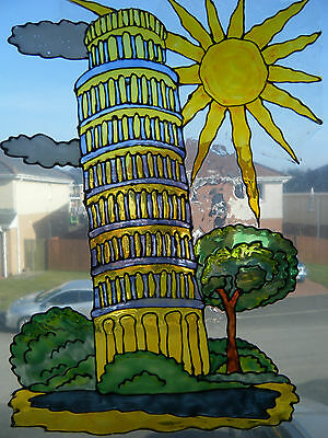 Leaning Tower Of Pisa Window Paint Picture Decoration Cling