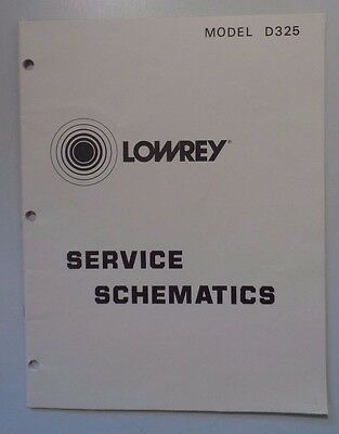 Original Lowrey Service Schematics plus parts D325  Holiday Spinet Organ