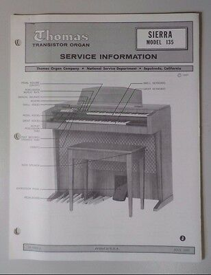 Original Thomas Organ Service Information Sierra 135