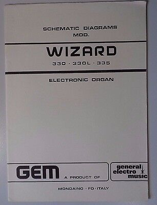 Original Gem Wizard 330 - 330L - 335  Electronic Organ Schematic Diagrams