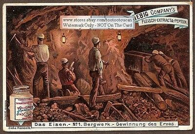 Miners In An Iron Ore Mine Minerals Deposic Pick c1898 Trade Ad Card
