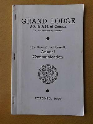 Grand Lodge Ancient Free Accepted Masons Canada Book Annual Communication 1966