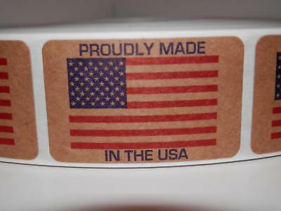 PROUDLY MADE IN THE USA AMERICA 1.25x2 Flag Sticker Label brown kraft  250/rl