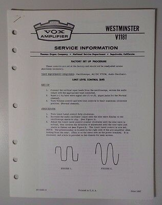 Original Vox Amplifier - Westminster V1181 - Service Information
